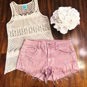 American Eagle distressed pink denim shorts